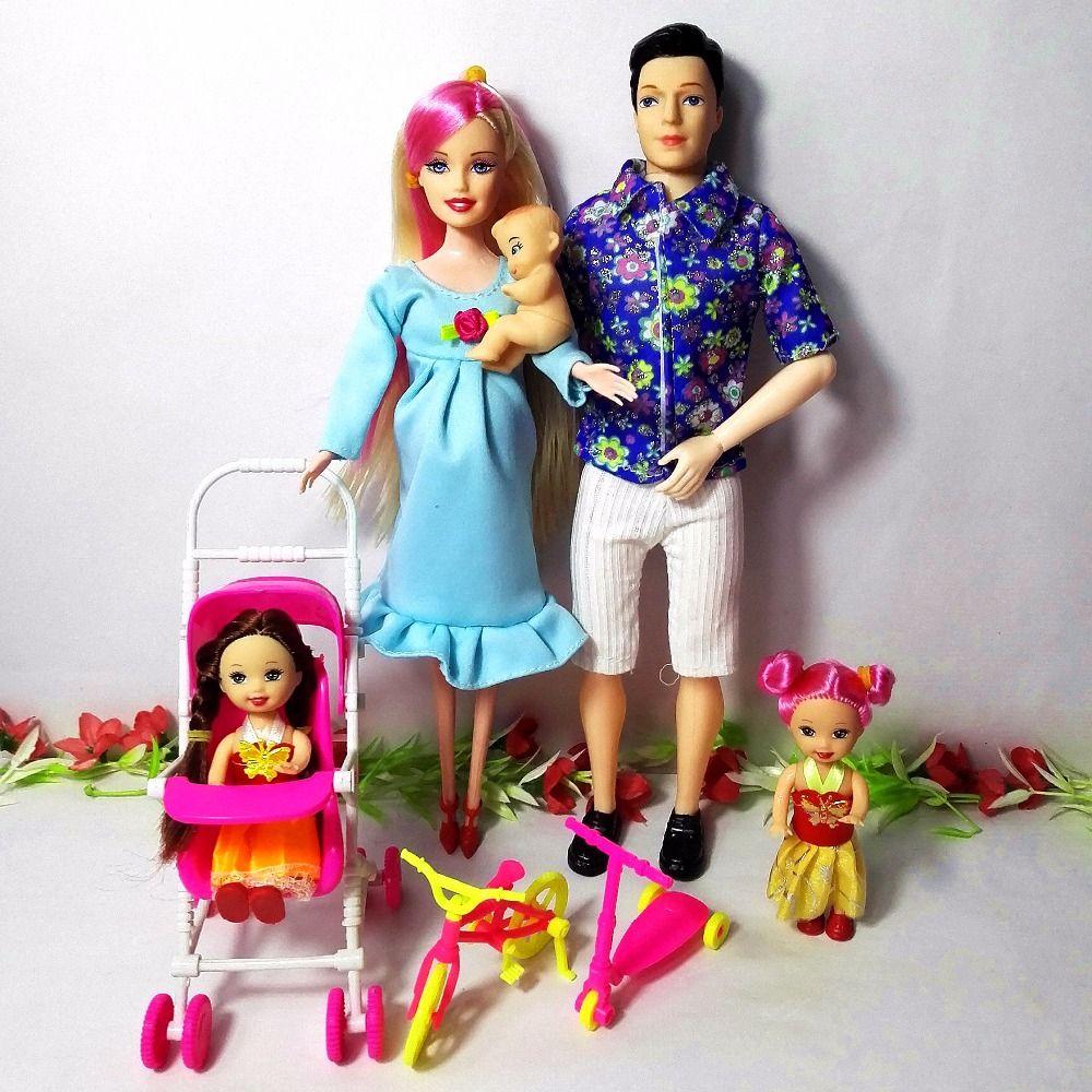 Toys Family 5 personnes poupées costumes 1 maman/1 papa/2 petite fille Kelly/1 bébé fils/1 landau réel poupée enceinte cadeaux, YF-88