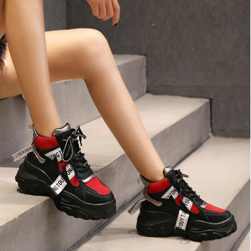 Baskets femme respirant chaussures de Sport blanc noir extérieur marche baskets femme à lacets plate-forme jogging course chaussures ND-26