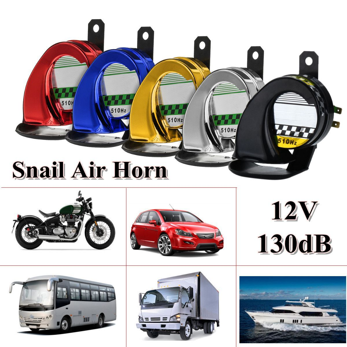 Universal 12V DC Waterproof Snail Air Motorcycle Horn Siren Loud 130dB for Truck Motorbike red gold blue silver black