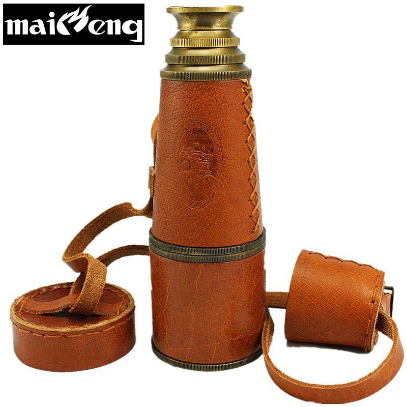 Vintage Piraten Monokulare Hohe-grade Reinem Kupfer Teleskop Leistungsstarke Fernglas Monokulare mit Leder Tasche für Interesse Sammlung