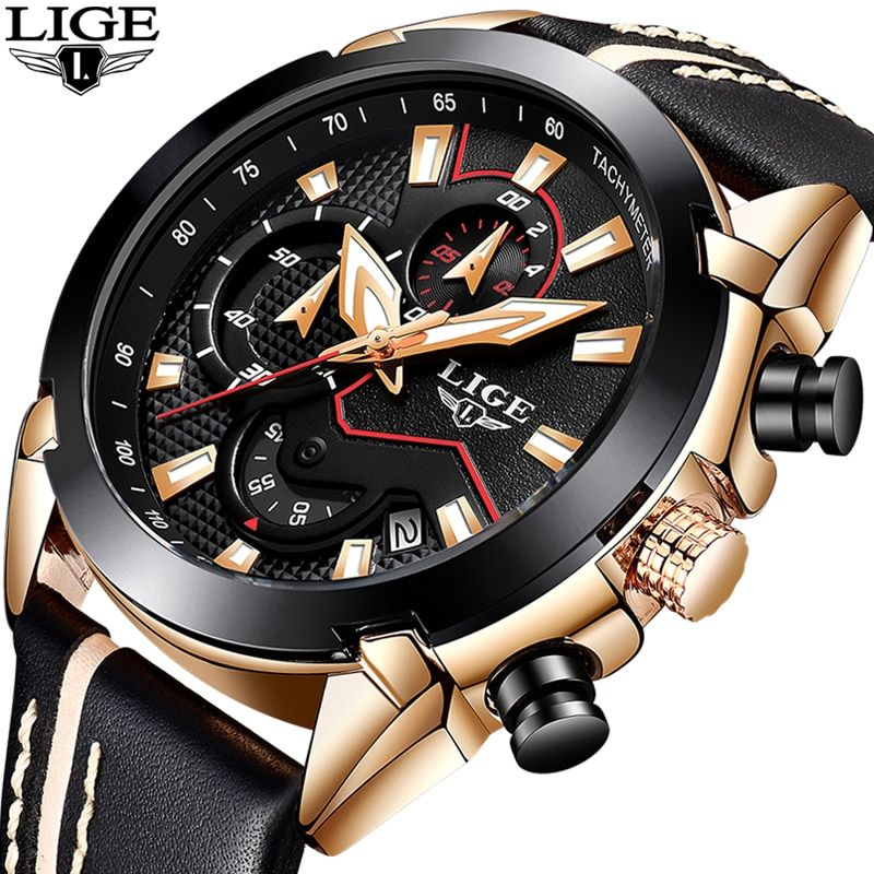 2018 New LIGE Design Fashion Brand Watches Mens Leather Sport Date <font><b>Chronograph</b></font> Quartz Watch Male Gifts Clock Relogio Masculino