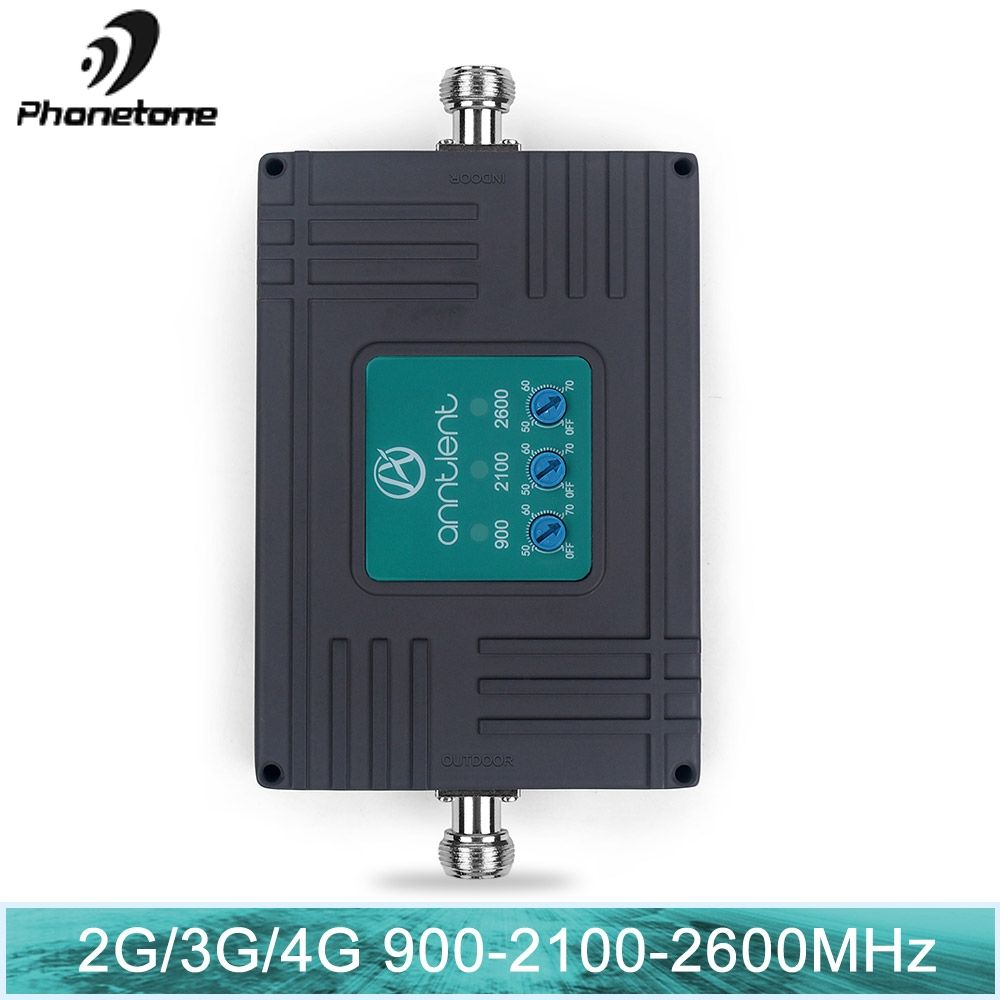 70dB Gain 2G 3G 4G Tri Band Repeater ALC Smart mini GSM 900+WCDMA 2100+LTE 2600 MHz Cellular Amplifier Cell Phone Signal Booster