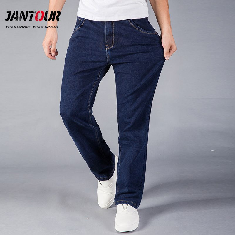 jantour Straight Jeans Man Large size Casual Fashion Long Pants Denim Trousers Classic Style High Quality Brand 40 42 44 size