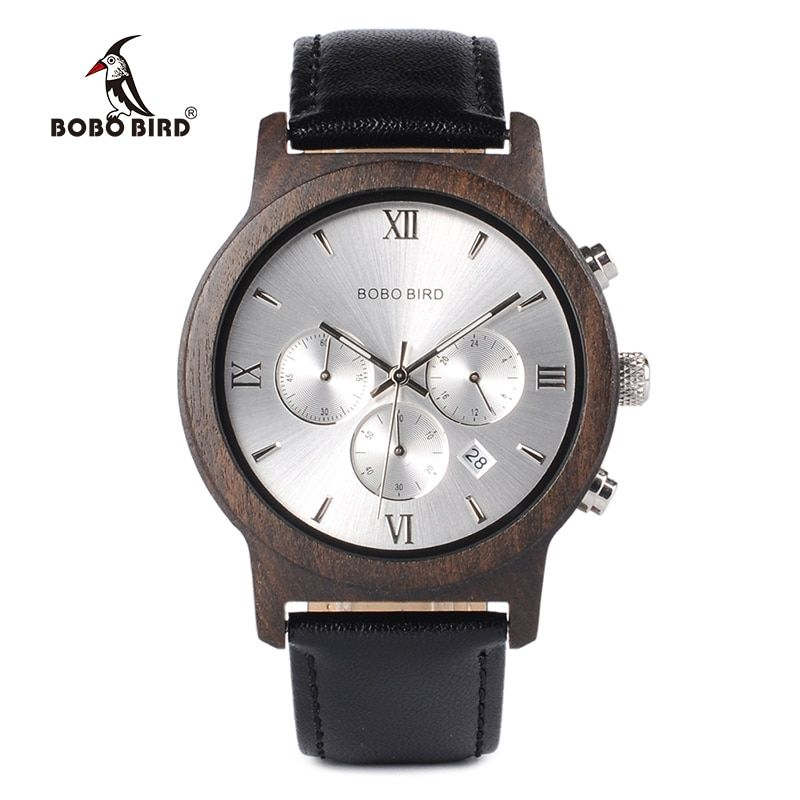 BOBO BIRD WP28 Wooden Mens Watches Luxury Chronograph Quartz Watch with Date Display in Wooden Gift Box