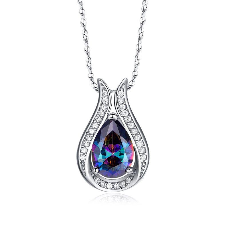 En gros 100% réel 925 en argent Sterling pendentif marque TOP qualité arc-en-ciel feu mystique cristal collier pour femmes cadeau bijoux