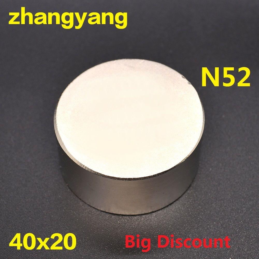 Livraison gratuite 1PC aimant chaud 40x20mm N52 rond forte aimants puissant néodyme aimant 40x20mm magnétique métal 40*20