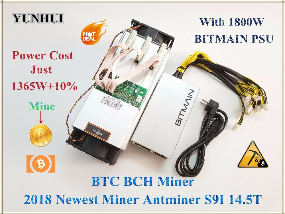 Newest AntMiner S9i 14.5T With BITMAIN APW7 1800W PSU Asic Miner Bitcoin Miner Btc BCH Miner Better Than Antminer S9 S9i 13.5T