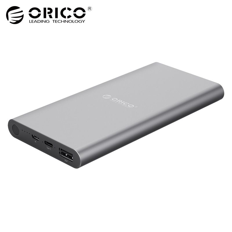 ORICO USB-C Type-C 10400mAh Power Bank Aluminum External Battery 5V2.4A Two-way Quick Charge <font><b>Lithium</b></font> Polymer Gray