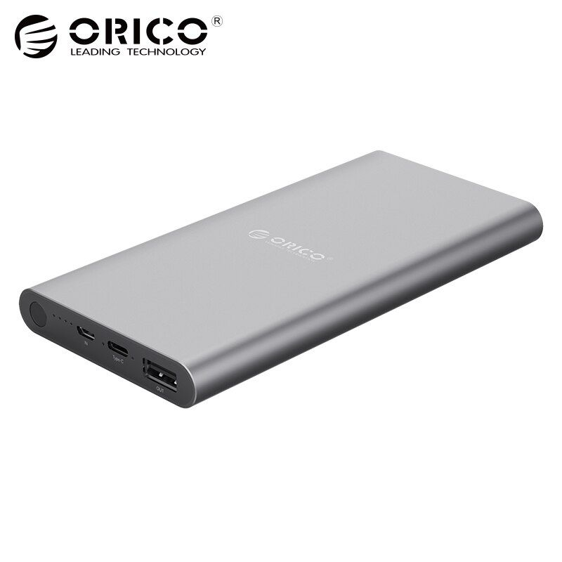 ORICO USB-C Type-C 10400mAh Power <font><b>Bank</b></font> Aluminum External Battery 5V2.4A Two-way Quick Charge Lithium Polymer Gray