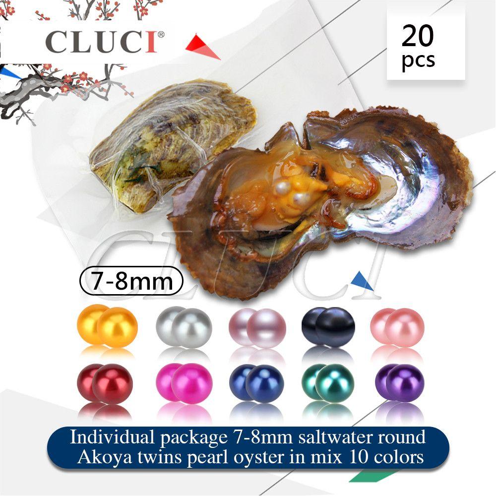 Cluci nave por UPS 20 unids 7-8mm colores mezclados gemelos ronda Akoya ostras, doble perlas en cada ostras, puede obtener 40 perlas de agua salada