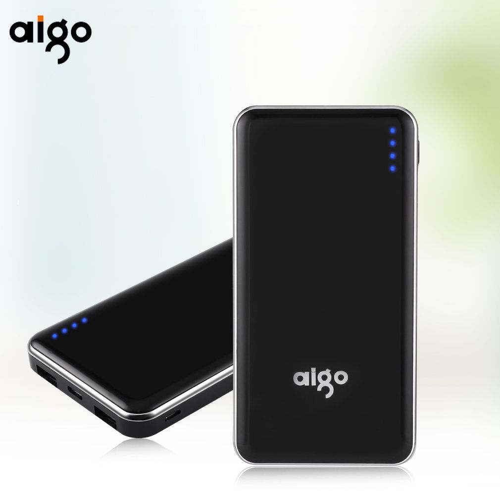Aigo Power Bank 10000mAh External Battery Quick Charge Dual USB Powerbank Portable Accumulator Battery for iphone SE 8 Huawei Mi