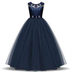 Bunga Gadis Gaun Pesta untuk Anak Perempuan Gaun Pesta Tulle Renda Panjang Putri Bridesmaid Pakaian Remaja Gadis Gaun 5- 14 Y