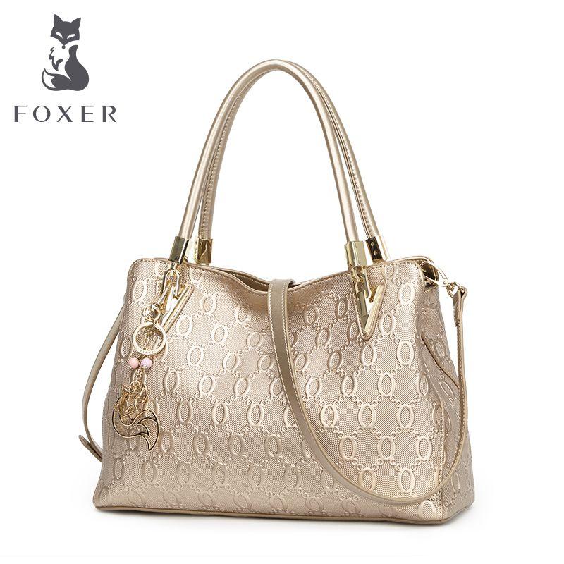 FOXER Brand Women's Cow Leather Shoulder bags New Design Handbag Fashion Female Shoulder bag all-match Women's Bag