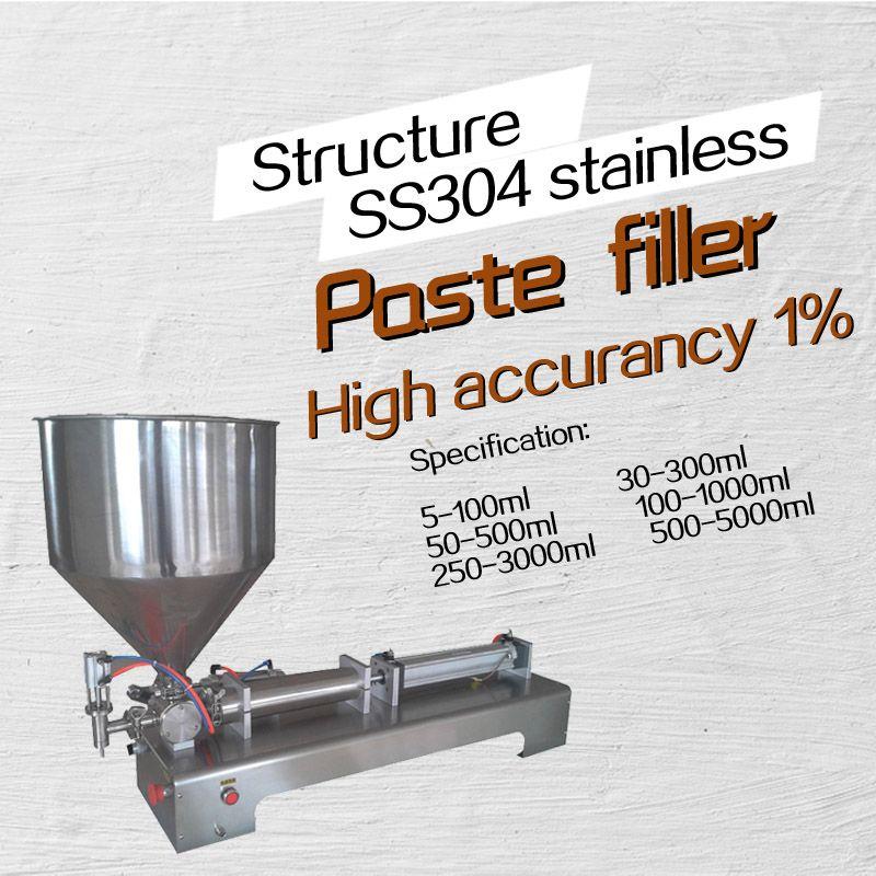 SHENLIN G1 inoxydable horizontal pneumatique pâte automatique machine de remplissage haute viscosité de remplissage de pâte machine 110 v 220 v 5- 500 ml