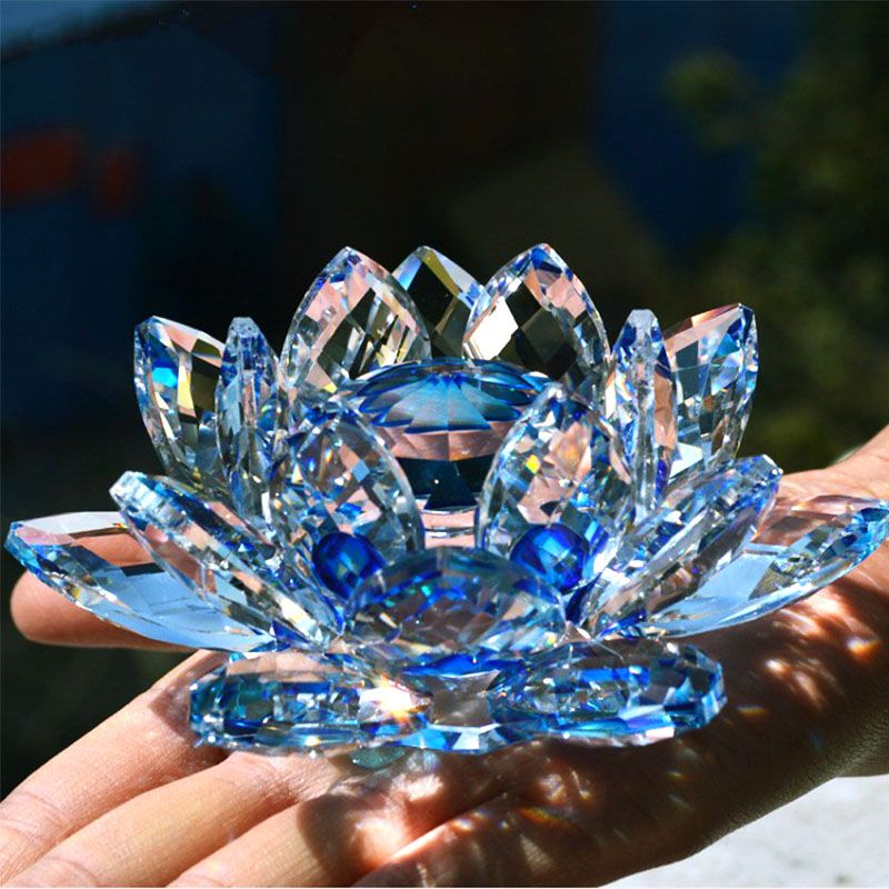 80mm Quartz Crystal Lotus Flower Crafts <font><b>Glass</b></font> Paperweight Fengshui Ornaments Figurines Home Wedding Party Decor Gifts Souvenir