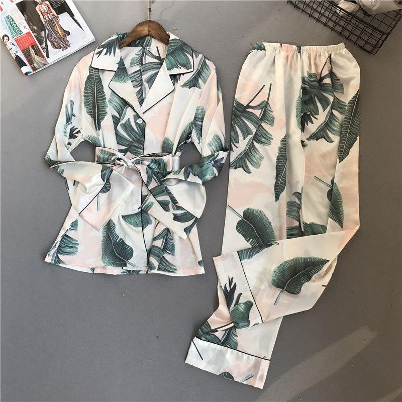 Voplidia Pyjamas Frauen 2018 Neue Frühling Herbst Stich Pijamas Set Seide Gefühl Nachtwäsche Pyjamas für frauen Pijama Feminino Pyjama