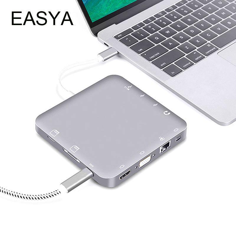 EASYA 11-en-1 Thunderbolt 3 USB C Hub à HDMI 4 K/VGA/DP/Rj45/Stéréo/Carte SD/TF Carte/USB 3.0 Hub avec Type-C PD pour Macbook Pro