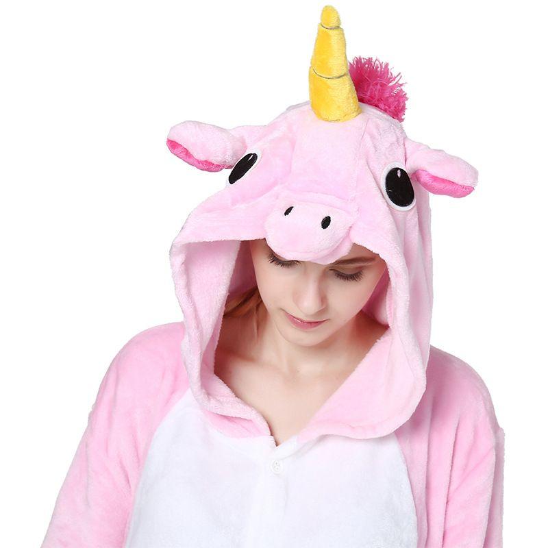 Розовый Единорог пижамы Наборы для ухода за кожей фланелевые пижамы животных зимняя Ночная сорочка стежка, Для женщин Для мужчин взрослых ...