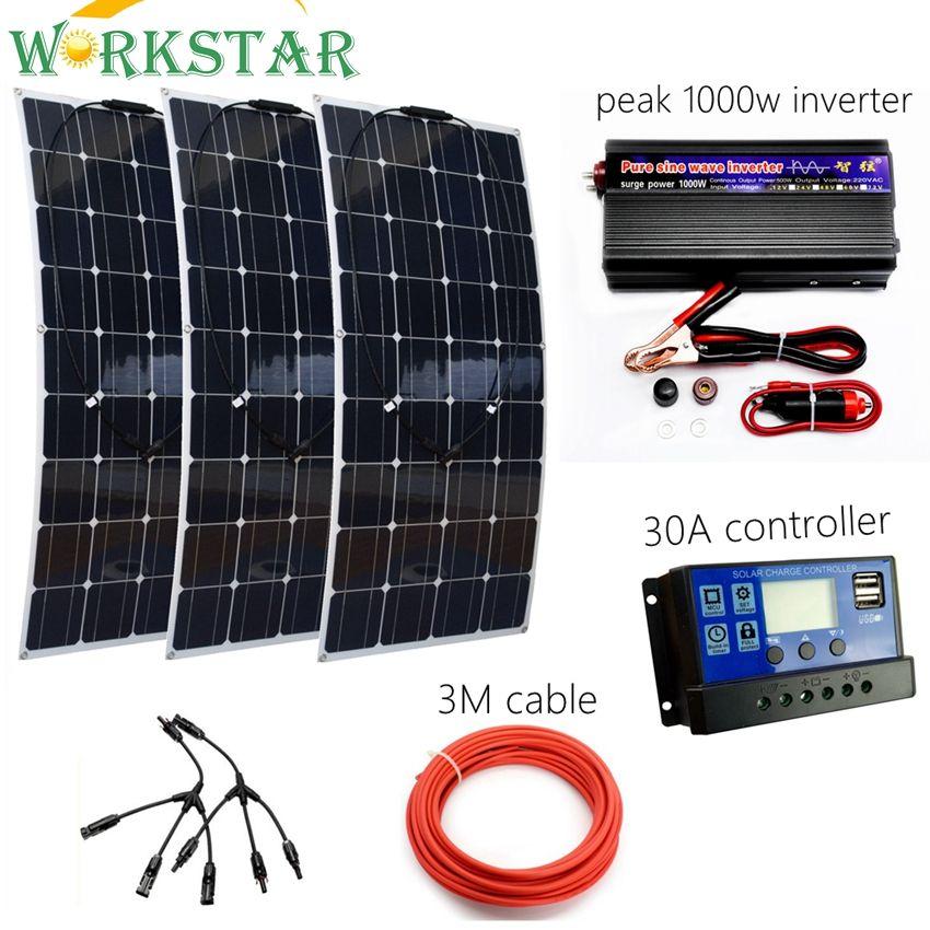 300 W Solar System Kit für Anfänger Flexible Solar Panel mit 30A Controller und 1000 W Reiner Sinus-wechselrichter Für 12 V Batterie Ladegerät