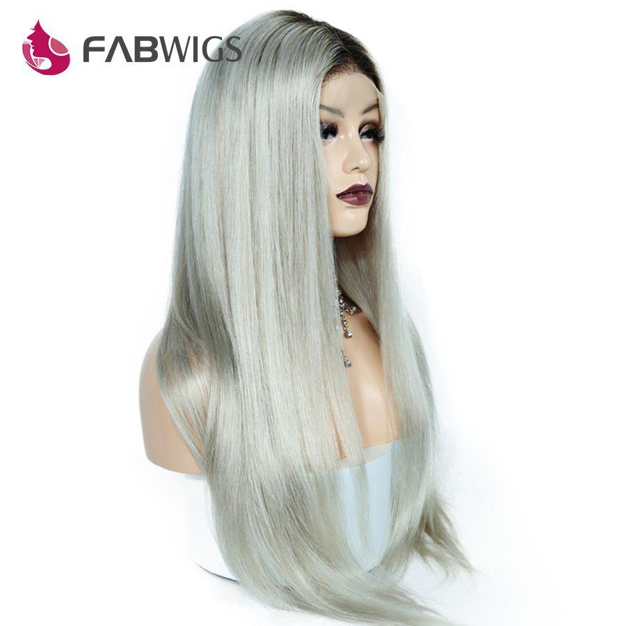 Fabwigs 150% Density 1B/GREY Full Lace Human Hair Wigs Brazilian Remy Ombre Kim Kardashian Human Hair Wigs with Baby Hair