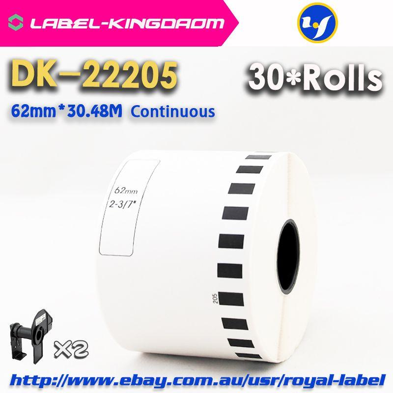 30 refill rolls kompatibel dk-22205 label 62mm * 30,48 mt kontinuierliche kompatibel für brother etikettendrucker weiß papier dk22205