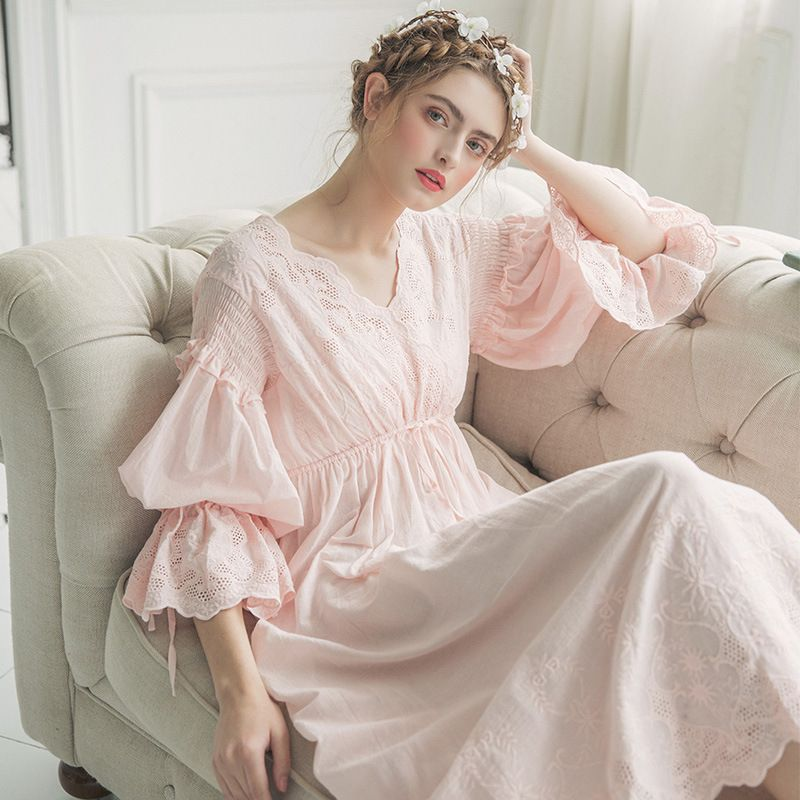 2019 nouveau automne blanc coton chemise de nuit princesse chemise de nuit vêtements de nuit pour dames femmes longue vêtements de nuit robe de nuit 2131