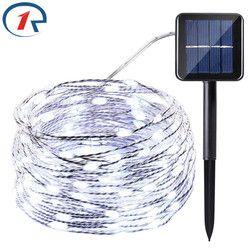 Zjright 20 m 200 LED de cobre hilos solares hadas luces de calidad superior panel solar lampara para Navidad jardín decoración