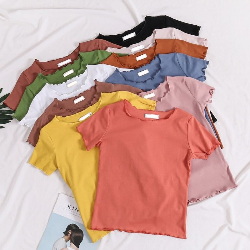 Summer Dress, Female Short Sleeves, Korean Version, New Style, Slim Ears, Round Neck, Pure Color, Stretch, Multicolored, Short T