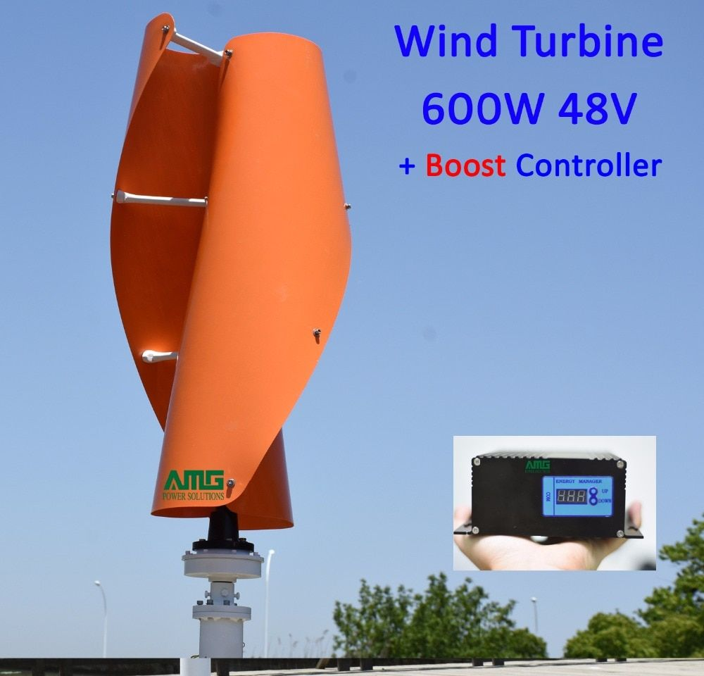 400W500W600W 48V VAWT Vertical Axis Residential Home use Wind Turbine Generator + 600W Wind 300W Solar Hybrid Charger Controller