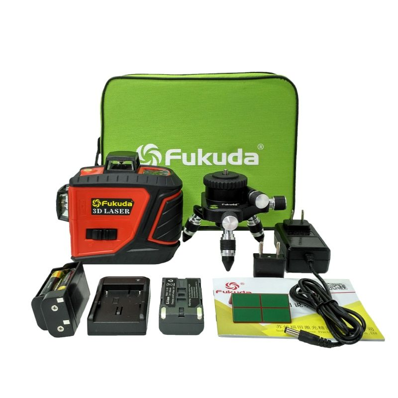 Fukuda 12Lines 3D MW-93T self-Leveling 360 Horizontal And Vertical Cross Super Powerful Red Green Laser level Beam Line