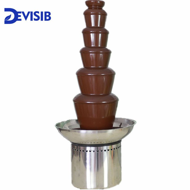 DEVISIB 6 Tier Commercial Chocolate Fountain Fondue with Stainless Steel 304 Material Christmas Wedding Event Party Supplies