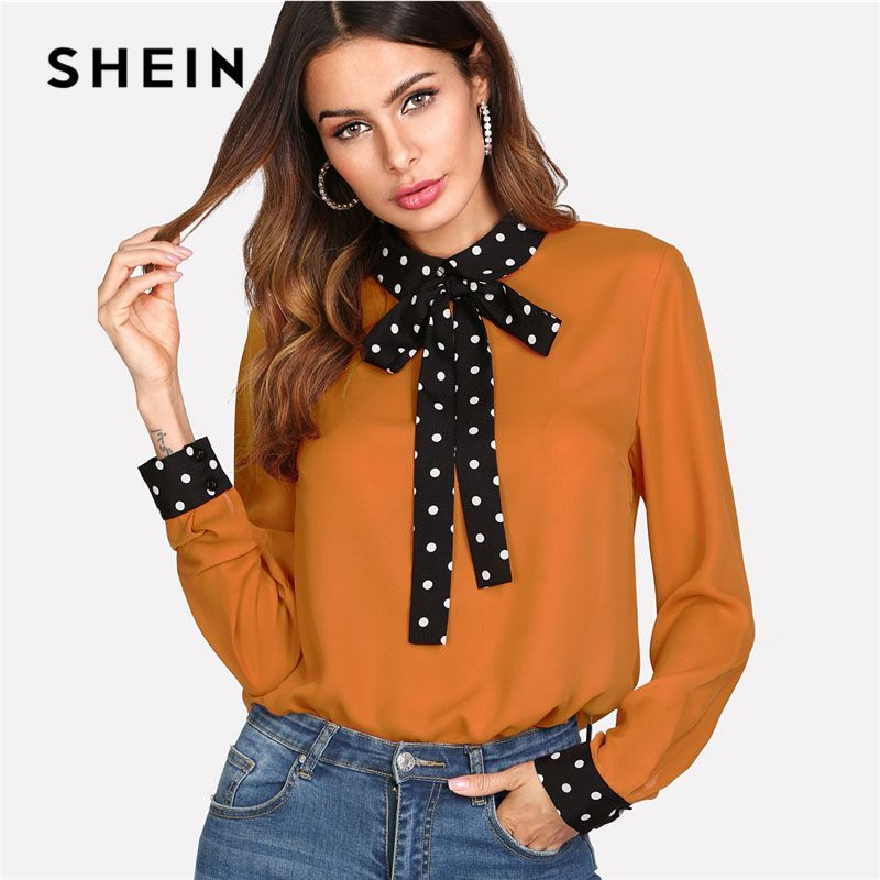 SHEIN Polka Dot Tie Neck Bow Cuff Blouse Women Patchwork Orange Long Sleeve Colorblock Top 2018 Spring Casual Work Blouse