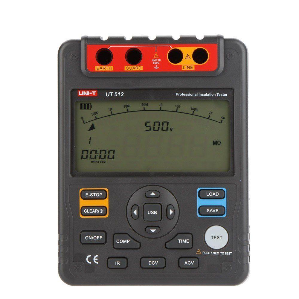 Testeur d'isolation numérique UNI T UT512 Megger MAX 100 voltmètre Gohm mégohmmètre PI/DAR stockage de données interface USB rétro-éclairage LCD