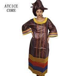 Gaun african untuk wanita fashion desain baru sub das belo african bordir desain gaun panjang dress dengan scarf dua pcs satu set A197 #