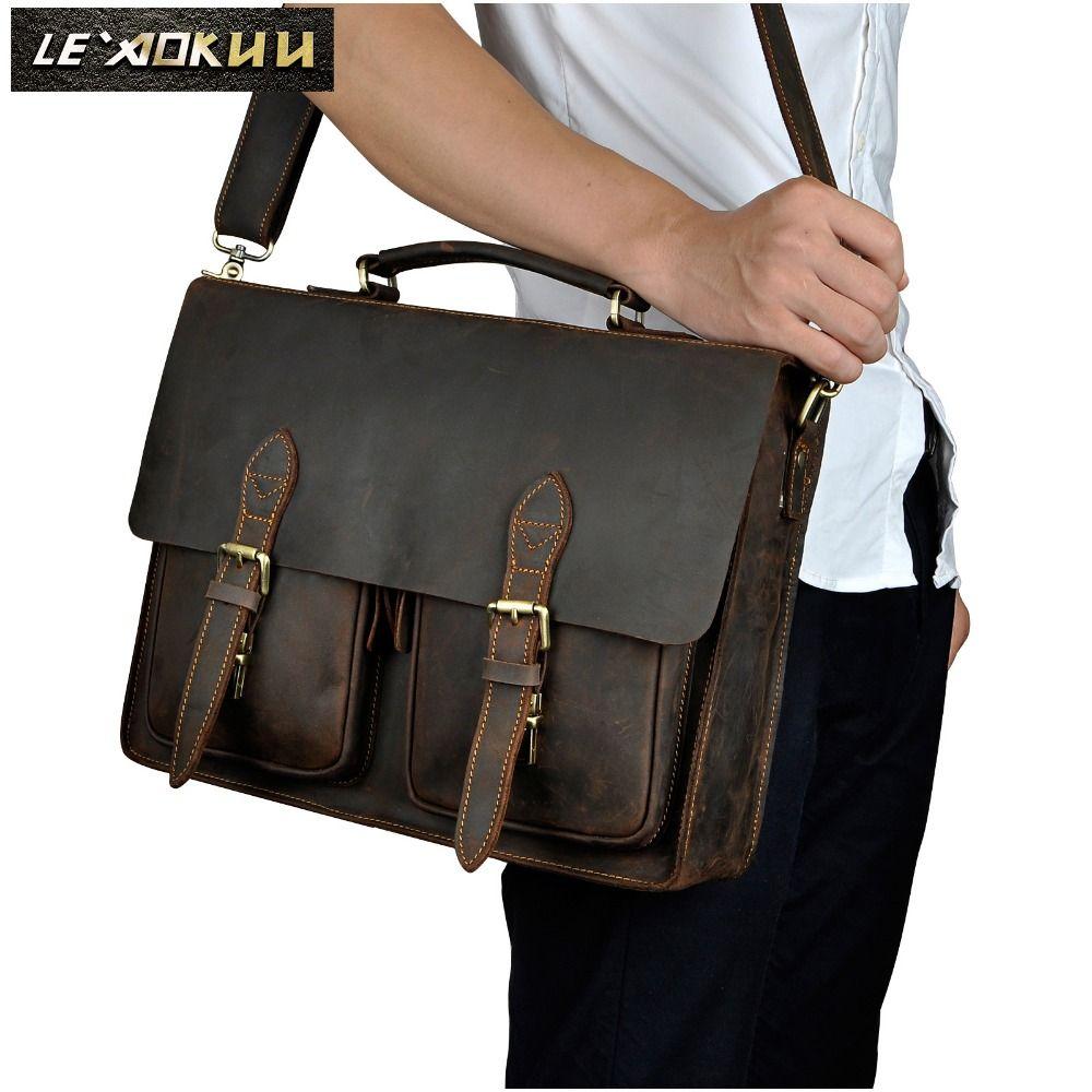 Men Crazy Horse Leather Retro Designer Business Briefcase Document Laptop Bag Commercia Attache Portfolio Messenger Bag 1061