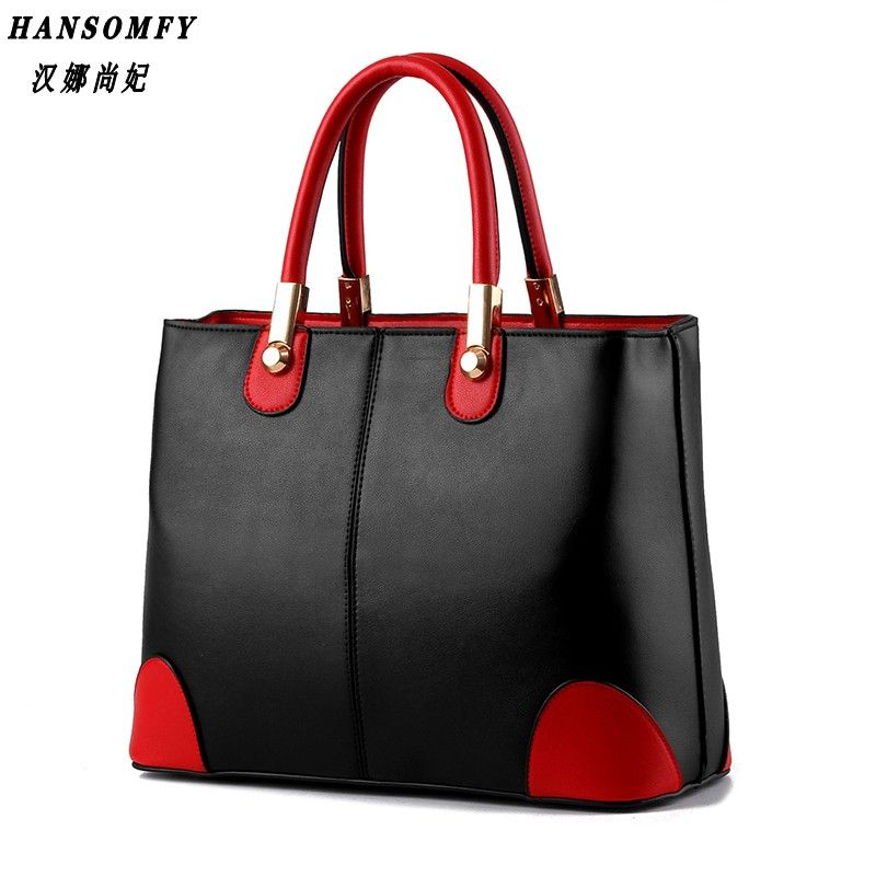 100% Genuine leather Women handbags 2018 New bag lady in black and white ladies fashion handbags Shoulder Messenger Handbag