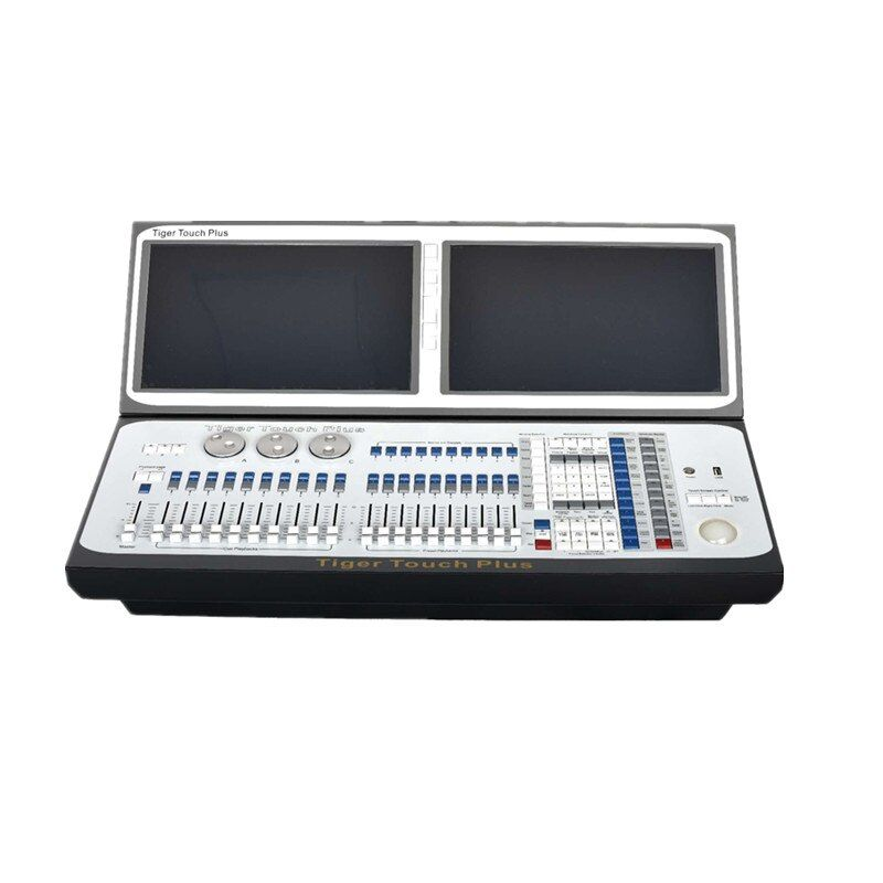 Neu kommen Tiger touch plus dmx moving light controller doppel bildschirm dj console mit flightcase i7 titan 10,1 version disco