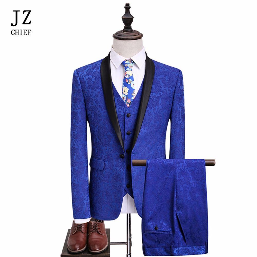 JZ CHIEF 3Pcs Suits Shawl Lapel Men Suit Royal Blue Tuxedos Groom Wedding Suit Print Slim Fit Party Blazers One Button Plus Size