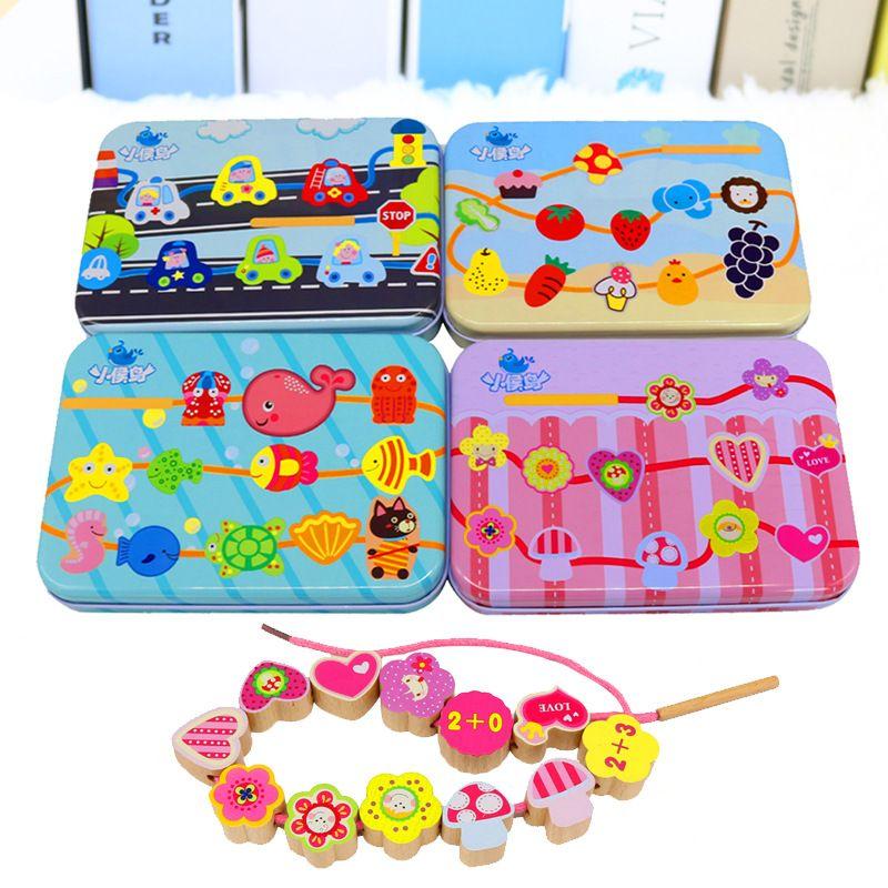 Holzspielzeug Perlen DIY Spielzeug Für Kinder String Perlen Bilden Puzzle Spielzeug Gebäude Kit Pädagogische Montessori geschenk