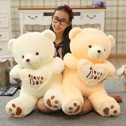 1pc Big I Love You Teddy Bear Large Stuffed Plush Toy Holding LOVE Heart Soft Gift for Valentine Day Birthday Girls' Brinquedos