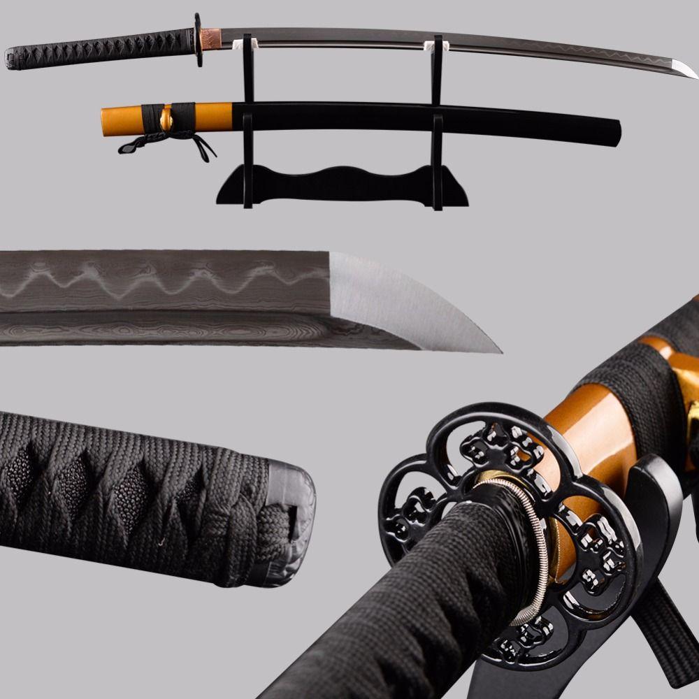 SJ Swords Full Tang Japanese Katana Sharp Folded Steel Clay Tempered Blade Espada Cuttig Practice Sword Metal Home Decoration