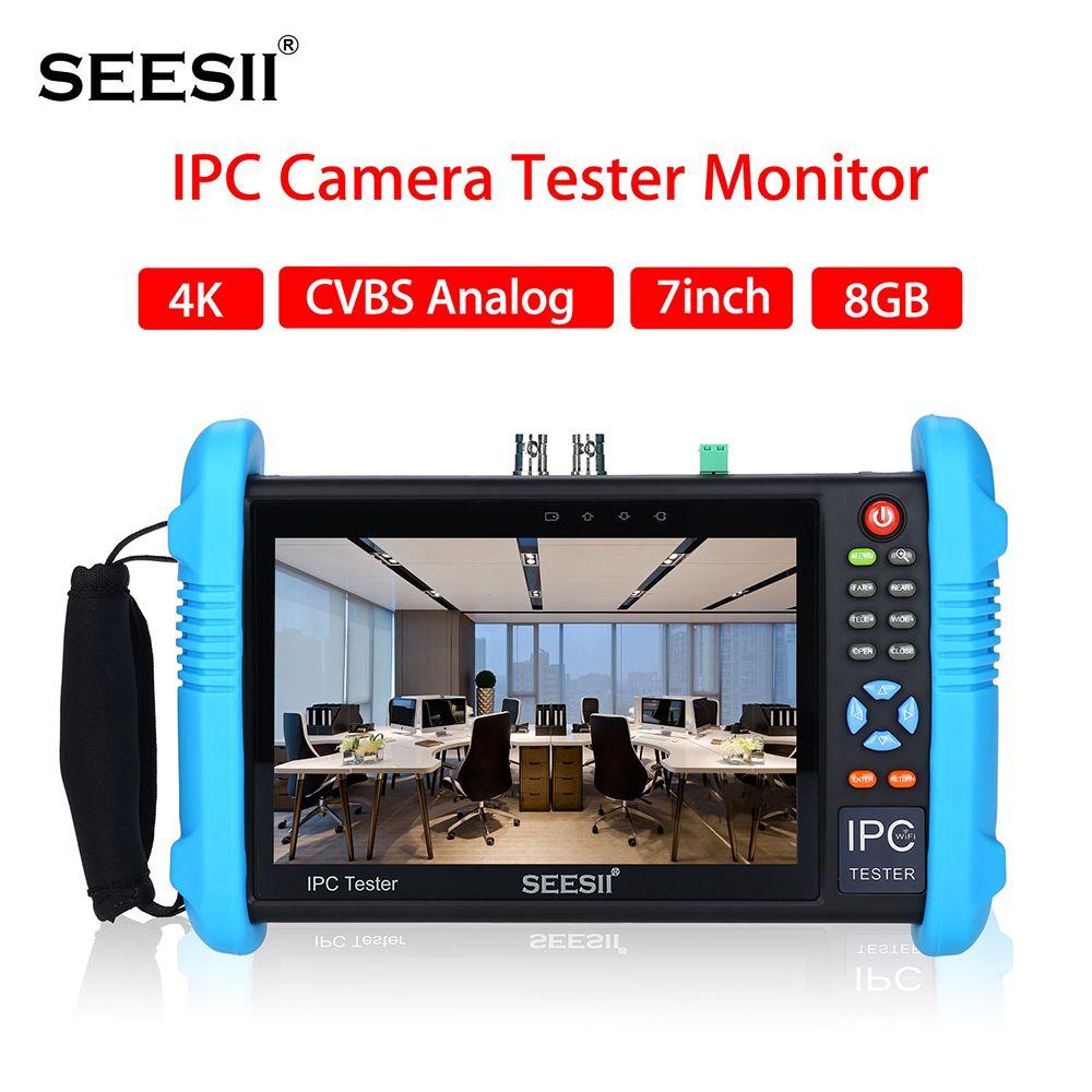 SEESII 9800PLUS 7 zoll 4K 1080P IPC Kamera CCTV Tester Monitor CVBS Analog Touchscreen mit POE HDMI ONVIF WIFI 8GB TF Karte