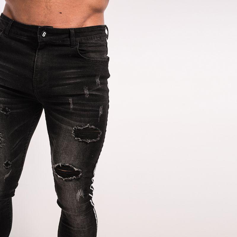 Gingtto Stripe Men Ripped Jeans Skinny Elastic Pant Tape Men Jeans Designer Brand Street Fashion Slim Fit Hip Hop Taping zm23
