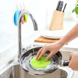Silicone Dish Washing Sponge Scrubber Kitchen Cleaning antibacterial Tool Kitchen Housework Towel #823
