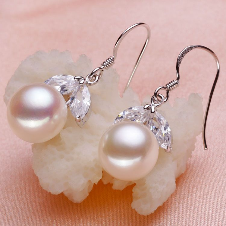 Eternal wedding Women Gift word 925 Sterling silver real [bright pearl] 2015 cherries, natural freshwater pearl earrings, earrin
