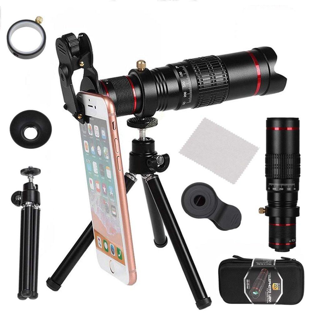 Universal HD 22X Télescope Zoom Objectif pour smartphone Optique Universel Clip Trépied Pour IPhone X 8 Plus Télescope Caméra Lentilles