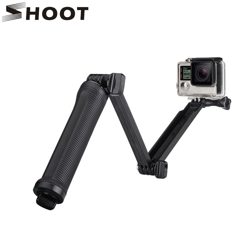 SHOOT Waterproof 3 Way Grip Monopod For Gopro Hero 5 3 4 Session SJ4000 Xiaomi Yi 4K Camera Go Pro Selfie Stick with Tripod Kits