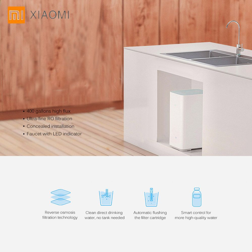 Original Xiaomi Mi Water Purifier Watering Filters Support RO Purification Technology App Control WIFI Android IOS Water Filters