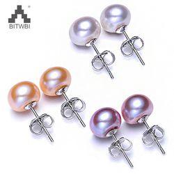Vente chaude 3 Couleur 6-9mm 100% 925 Sterling Argent Naturel perle D'ongle D'oreille Classique Simple De Mode Perle Boucles D'oreilles bijoux Pour femmes