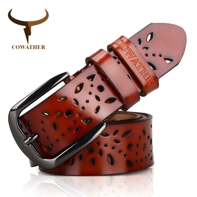 COWATHER New 2017 genuine leather jeans belts for Women Hollow pressed flower luxury strap female belt Gun gray buckle